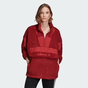 New Adidas Sherpa  Teddy Half Zip Jacket